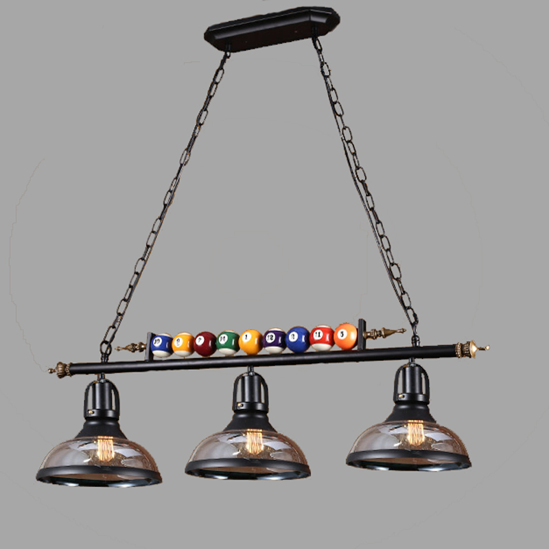 north american billiards lamp rural creative personality retro industrial wind glass three loft restaurant chandeliers billiard room lighting