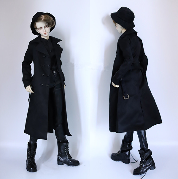 BJD doll clothes black double-breasted Dust coat with belt for 1/3 1/4 BJD DD SD MSD SD17 Uncle SSDF doll clothes accessories beioufeng 1 3 1 4 1 6 sd bjd doll clothes include shirts black skirt and tie student uniform bjd clothes for dolls accessories