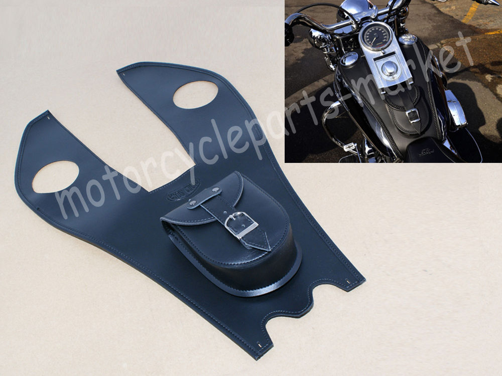 Black Motorcycle Leather Tank Chap Cover Panel Pad Bib Bra Bag For Harley Dyna Road King Softail Fatboy Touring 1996-2016