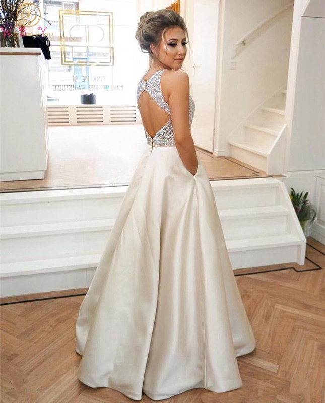 Rhombus Back Prom Dress O-neck Sleeveless Beading Sequined Top Floor Length With Pockets A-line Satin Backless Evening