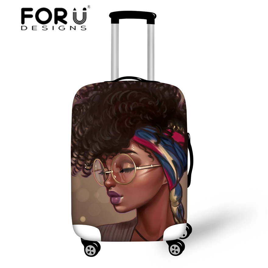 FORUDESIGNS Covers For Suitcases Black Art African Girls Print Travel Accessories Women Luggage Cases For 18-30 Inch Protective