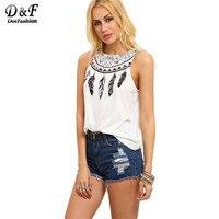 Dotfashion Women Vest Summer Women Tops Korean Street Fashion Sleeveless T Shirt Women White Feather Print