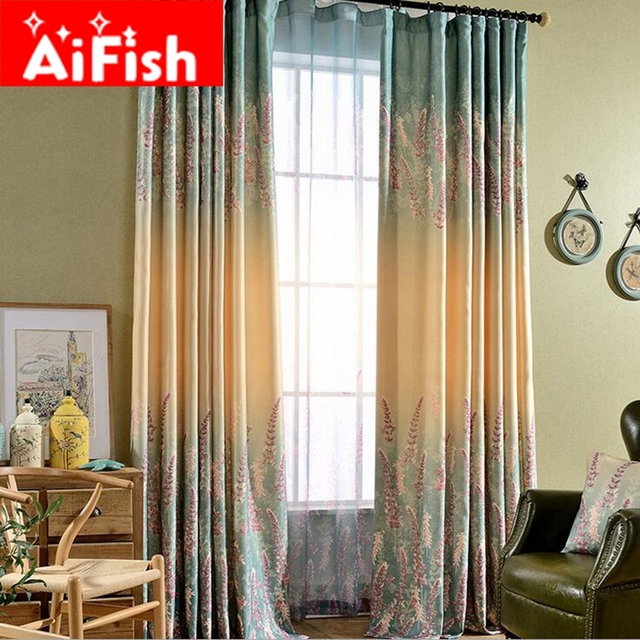 Purple Lavender Printed Insulation Curtains For Living Room European American Style Fl Screens Window Kitchen Panel