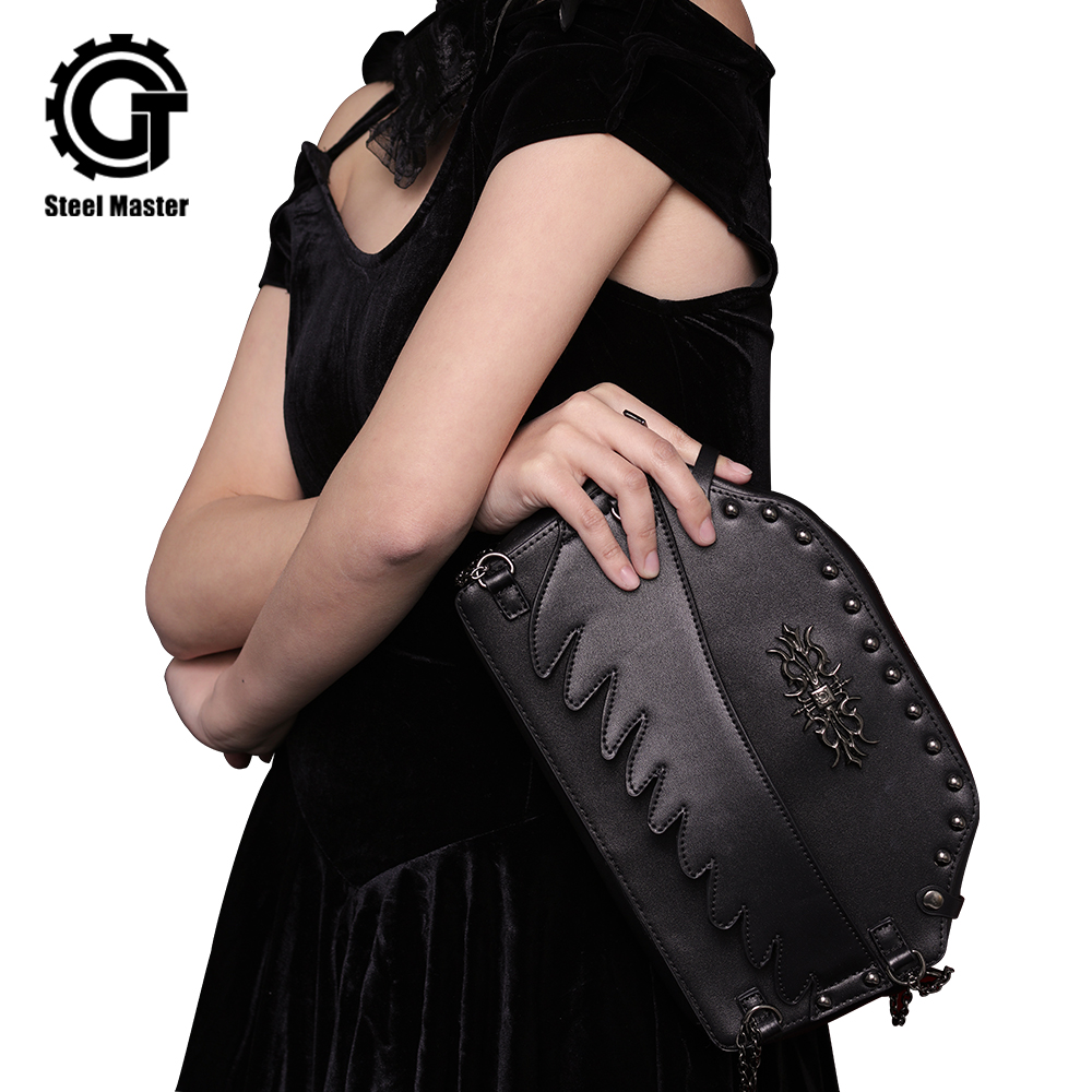 Punk Rivet Shoulder Messenger Bags Steampunk Motorcycle Crossbody Bag Gothic Black PU Leather Women Men Clutch Handbag fashion new steampunk rivet shoulder bag crossbody motorcycle messenger bags gothic black pu leather women clutch handbag