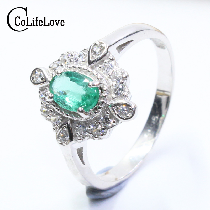 Vintage style silver emerald ring 0 4 ct 4 mm 6 mm oval cut SI grade