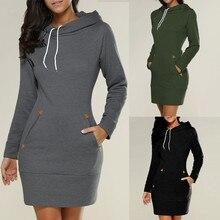 Women Ladies Hooded Sweatshirt Long Sleeve Pockets Slit Sweater Hoodies Jumper Mini DressAutumn Winter Pullover  Sweatshirt