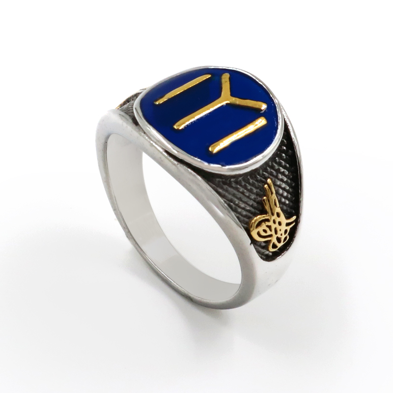 New Men High Quality Blue Islam Rings Turkey Ottoman Empire Muslim Allah 316L Stainless Steel Gold Silver Male Ring Accessories(China)