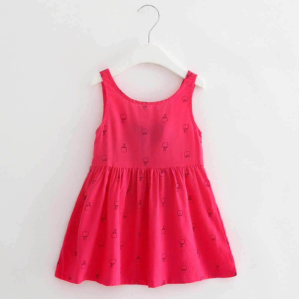Vestido de verano para niñas pequeñas vestido de moda sin mangas fruncido chaleco Bowknot Floral princesa vestido de moda para niñas Vestidos de verano