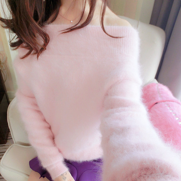 2019 Women Sweaters Pure Mink Cashmere Knitted Slash Neck Pullover Ladies Sweater Customized Coat Free Shipping