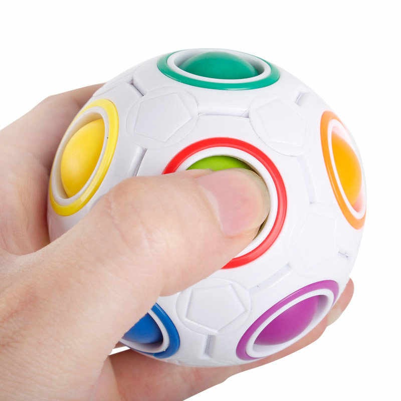 Fashion Adult Kid Ball Magic Cube Toy Plastic Creative Rainbow Football Puzzle Children Learning Educational Fidget Toys  NSV775