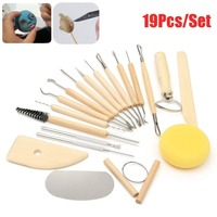 G1 19pcs Clay Sculpting Sculpt Smoothing Wax Carving Pottery Ceramic Tools Wood Handle Set LY 623