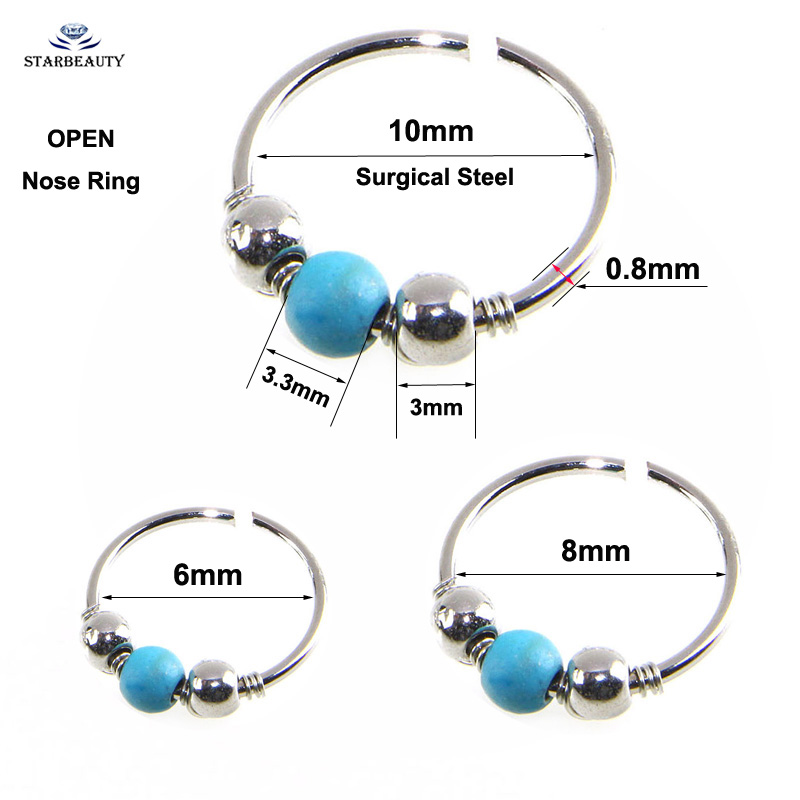 Fake Nose Ring Blue Stone Ball Nose Piercing Open Lip Ring Nose ... a7f9b3569bc1