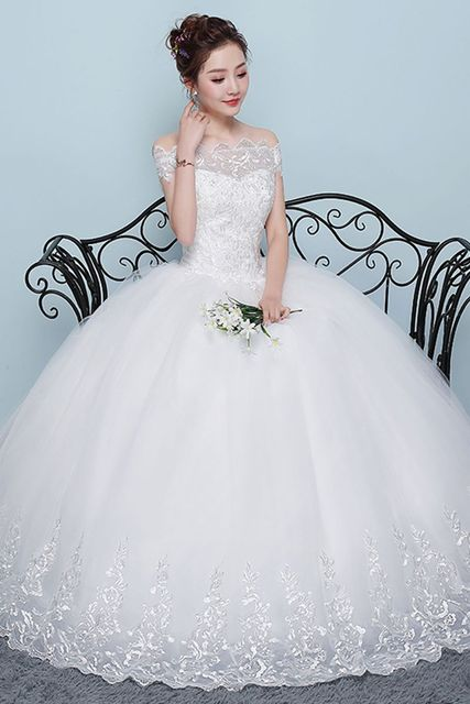Wedding Dress 2018 New Mrs Win Cheap Boat Neck Ball Gown Off The Shoulder Princess Wedding Dresses Plus Size Vestido De Noiva F 6