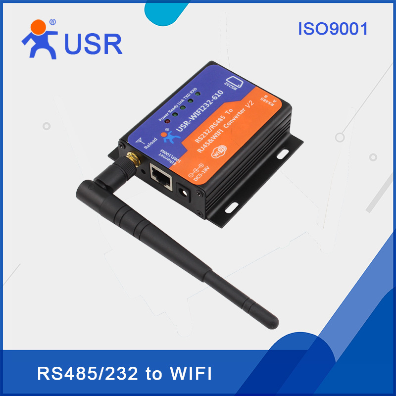USR-WIFI232-610-V2 Serial to Wifi 802.11 b/g/n Converter RS232 RS485 Interface Support Websocket and HTTPD Client rs232 to rs485 interface communication connector serial port converter driver grey green