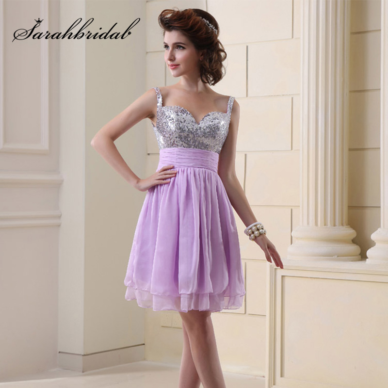 Cheap Short Prom Dresses In Stock With Silver Sequin Bodice Chiffon Knee Length Spaghetti Strap Graduation Gala Party OS016