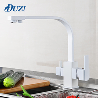 DUZI Drinking Water Filter Faucet White Kitchen Sink Tap 360 Degree Rotation 3 Way Water Filter