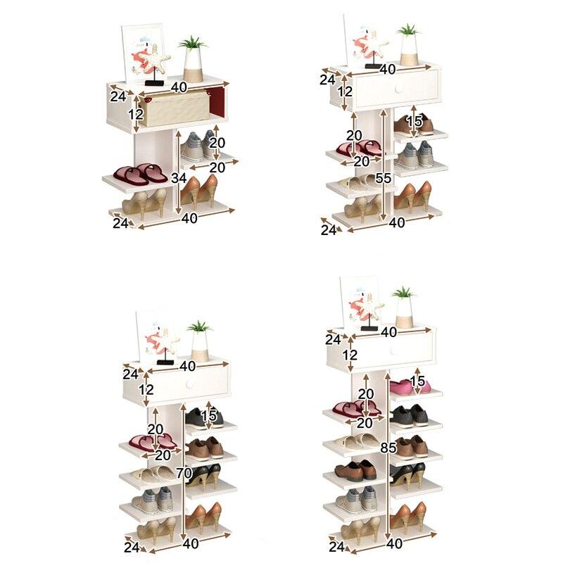 Double porte-chaussures scarpiera organisateur meubles de maison en bois estanteria para zapatos pour salon armoire à chaussures avec tiroir - 2