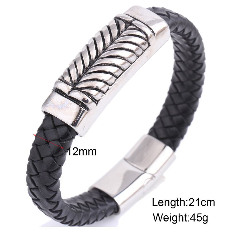 Leather woven titanium steel bracelet men bangle fashion jewelry accessories wholesale ZJ1012 in Bangles from Jewelry Accessories