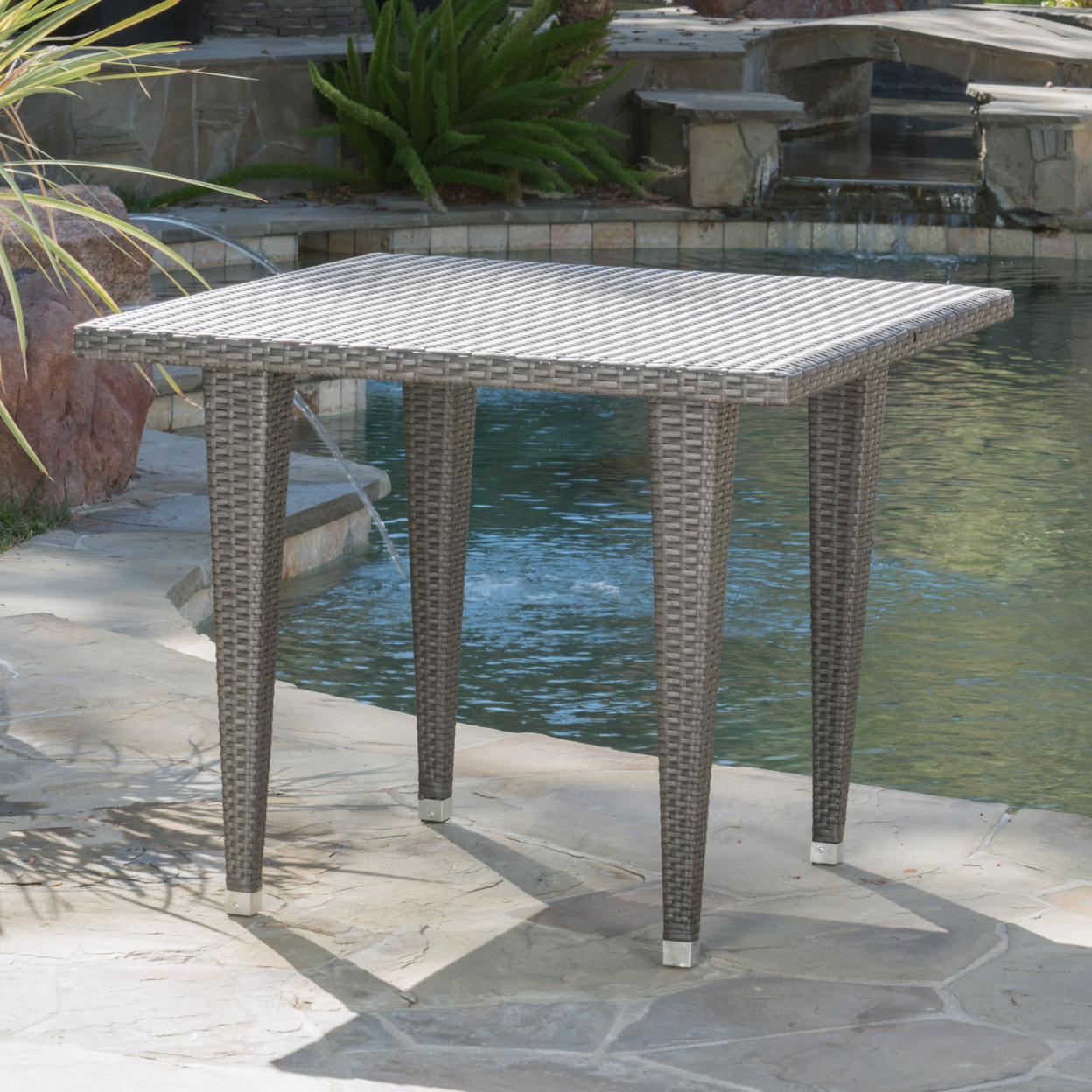 Alrol Contemporary Outdoor Patio Grey Polyethylene Square Table цена