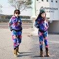 2016 Новая Коллекция Весна детская одежда набор мальчиков и девочек Фиолетовый печати Костюм дети спорт костюмы Хип-Хоп шаровары и толстовка