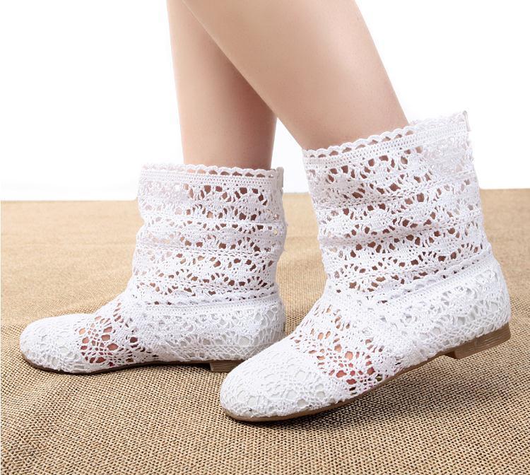 Single más vendido pisos crochet botas botines moda para mujer para ...