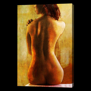 100%Handmade Nude Oil Painting 28x16 NOT a print, giclee poster Abstract Impressionist