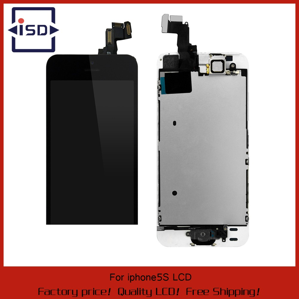 50PCS-LOT-Black-or-White-For-iphone-5S-LCD-display-Touch-Screen-Digitizer-Home-Button-Bezel