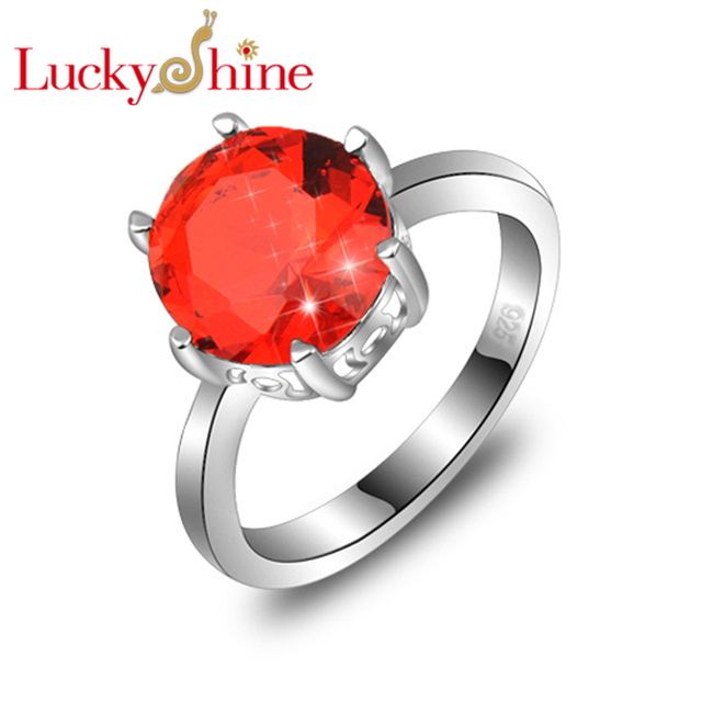 Big Promotion Amazing Round Fire Created Garnet Silver Plated