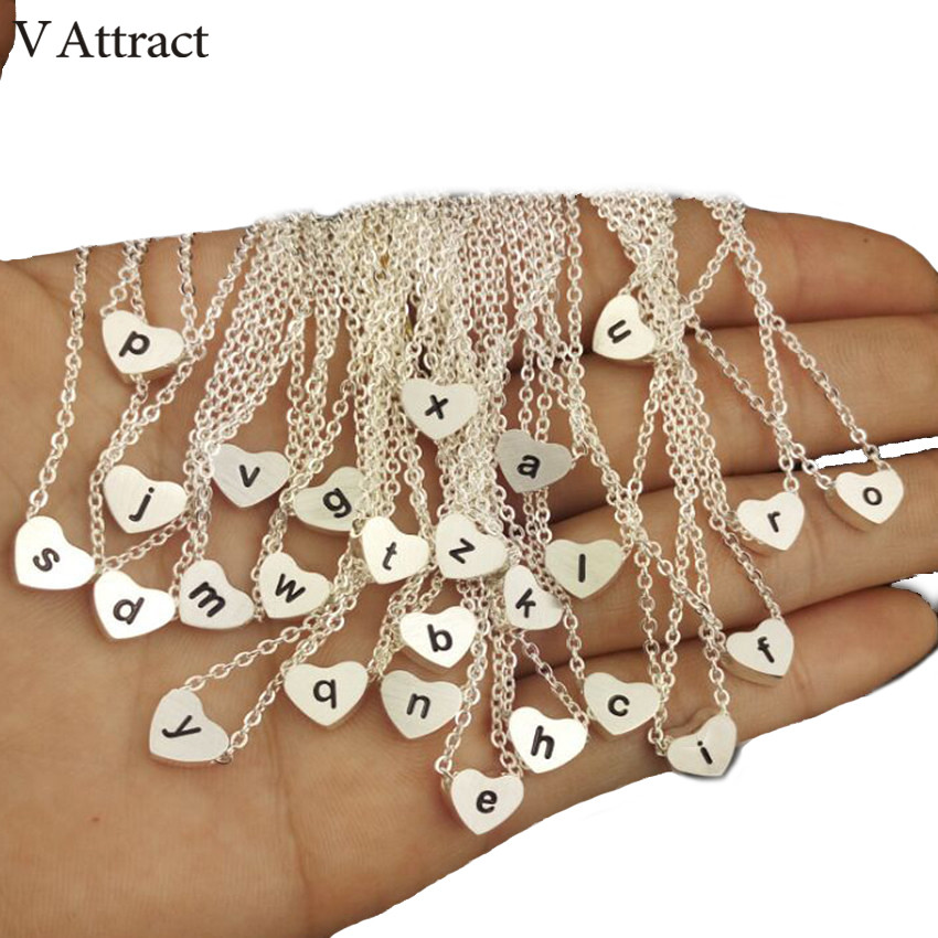 V Attract 10pcs Rose Gold Choker Stainless Steel Letter Charm z y x w v u t s r q p o n a b Collier Femme Heart Initial Necklace