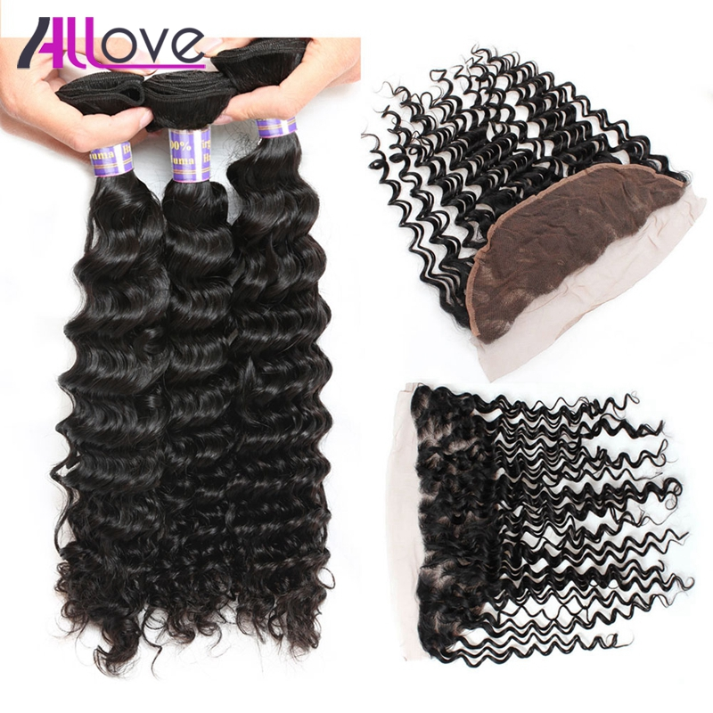 Allove Deep Wave Brazilian Hair Bundles With Closure 100% Remy Human Hair Extensions Free Part Ear To Ear Lace Frontal Closure