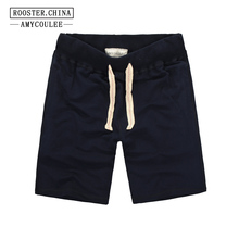 100% Cotton Summer New Brand Beach Shorts Men Solid Color Bo