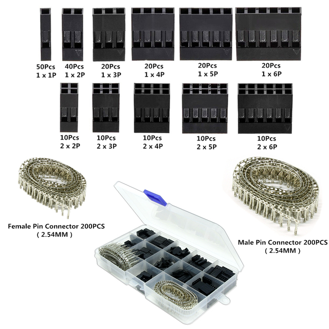 620Pcs Dupont Connector 2.54mm Dupont Cable Jumper Wire Pin Header Housing Kit Male Crimp Pins+Female Pin Terminal for arduino