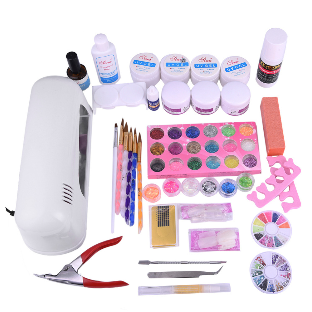 Pro 9W UV Gel Light Therapy Machine UV Gel Acrylic Powder Set Nail Rhinestone Decorations Nails Brush File Manicure Tools Kit