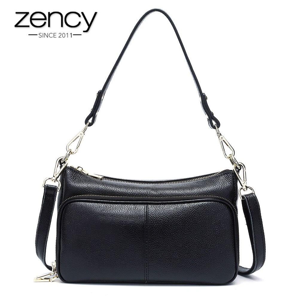 Zency Elegant Women Handbag 100% Genuine Leather Ladies Shoulder Bag Crossbody Messenger Purse Fashion Hobos Black High Quality