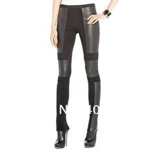 wholesale Fashion wild Stretch knit PU Leggings Bandage trousers