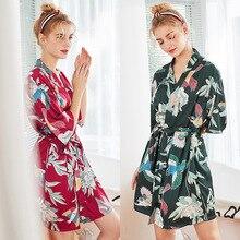 2019 Womens Sleep Robe Nightgown Lady Bride Bridesmaid Rayon Short Kimono Bath Gown Sleepwear Bathrobe Pijama Mujer XXL Widding
