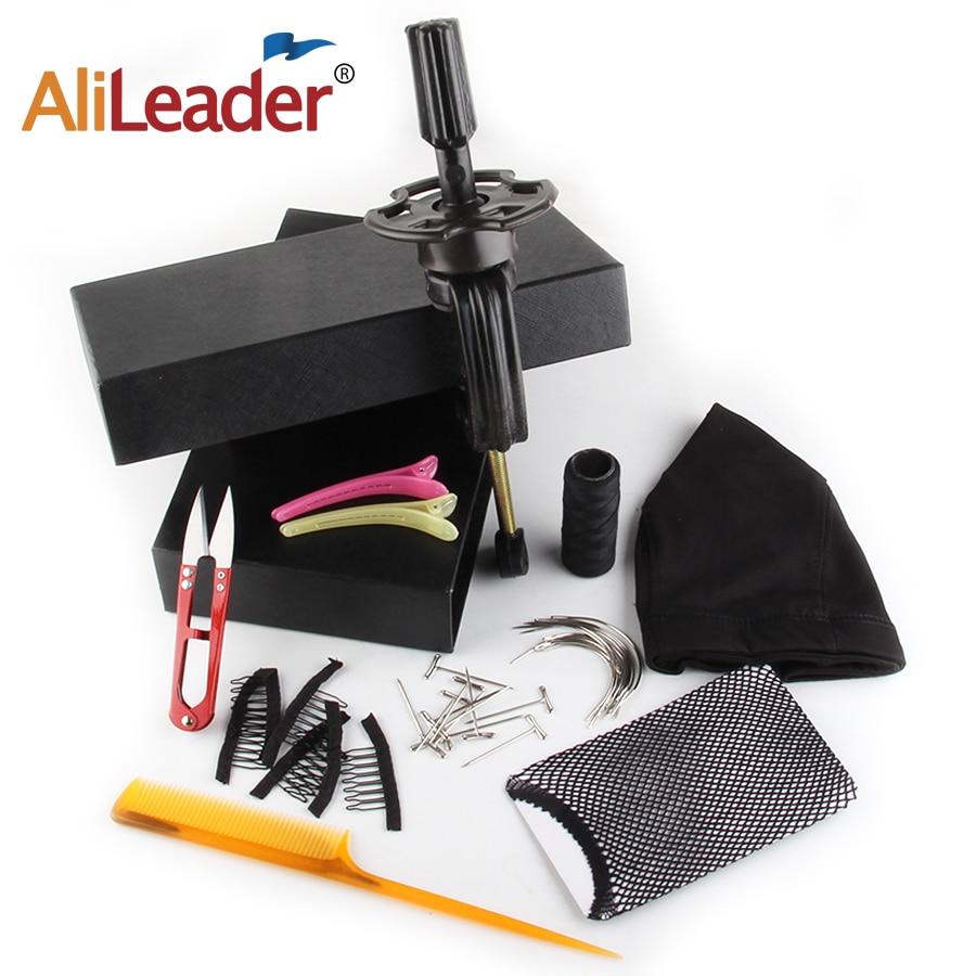 Alileader 10Pcs/ Set Wig Making Tools Kit Wig Accessories Wig Cap Hair Net Head Holder T Pins Curved Weaving Needle Hair Thread