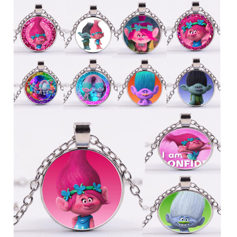 Movie Trolls Necklace Figures Poppy Branch Metal Pendants Troll Characters Poppy Christmas Figurines Doll Poupee Christmas Gifts