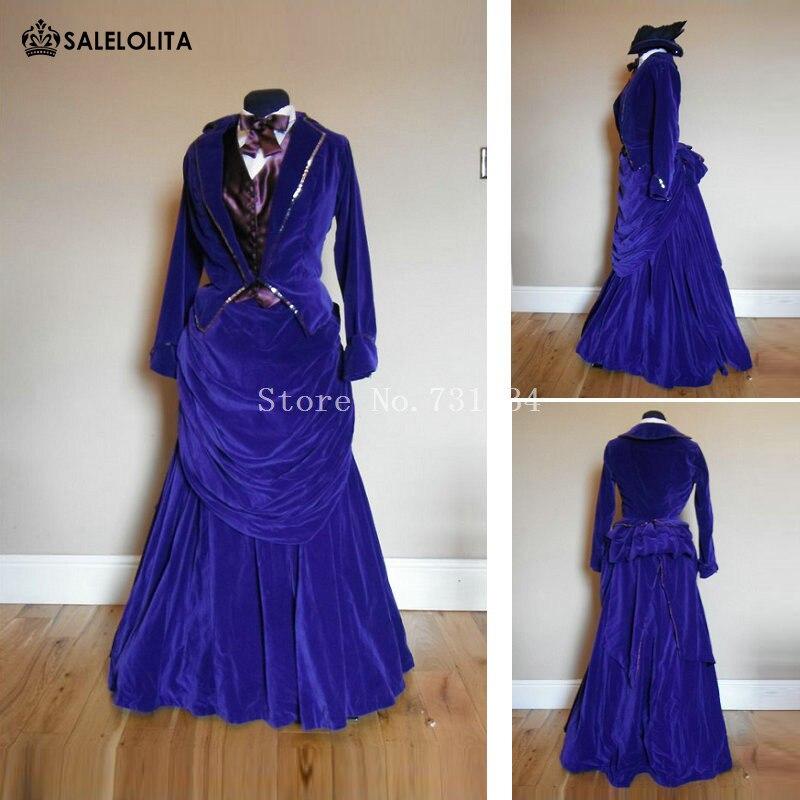Gothic Victorian Bustle Dresses Edwardian Era Queen Masquerade Stage ...