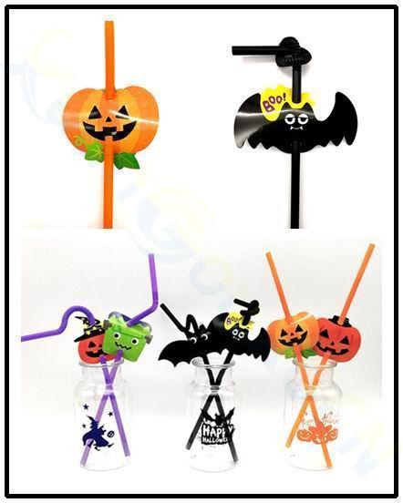 10set Halloween Easter Decorations Pumpkin ghost Creative straw bar shop Mall Party festival Props supplies