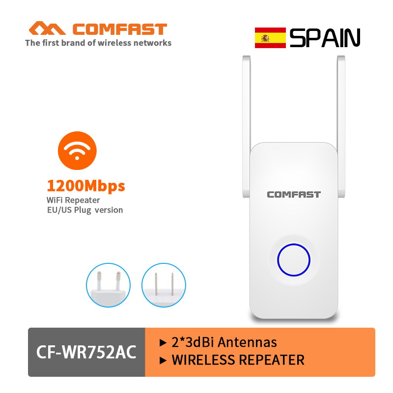 Comfast Home Wifi Repeater High Speed 1200Mbps Wireless Range Extender Amplifier 2.4G&5Ghz Wifi Booster 2*3dbi Antenna Roteador(China)