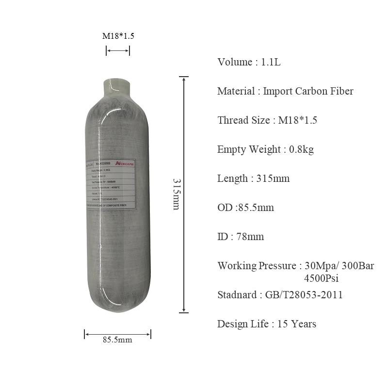 AC3011 1.1L Mini Scuba Diving Tank Scuba Pcp Airforce Condor/Pcp Air Rifle Hpa Fiber Carbon Cylinder High Pressure Air Bottle