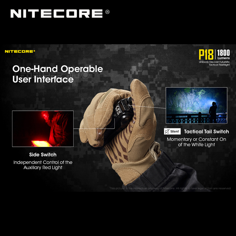 1800 Lumens Nitecore P18 Unibody Die case Futuristic CREE XHP35 HD LED Tactical Flashlight with Auxiliary Red Light - 4