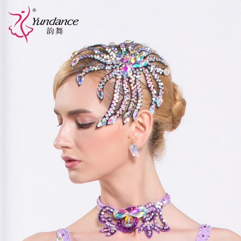 Girls New Diamond Dance Necklace Lady Dance Headwear Female Modern Headdress National Flower Headwear Accessories B-6588