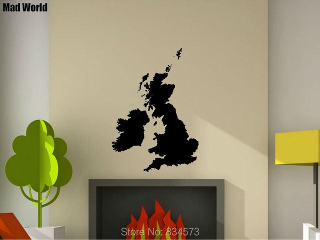 mad world united kingdom uk world map silhouette wall art stickers wall decal home diy