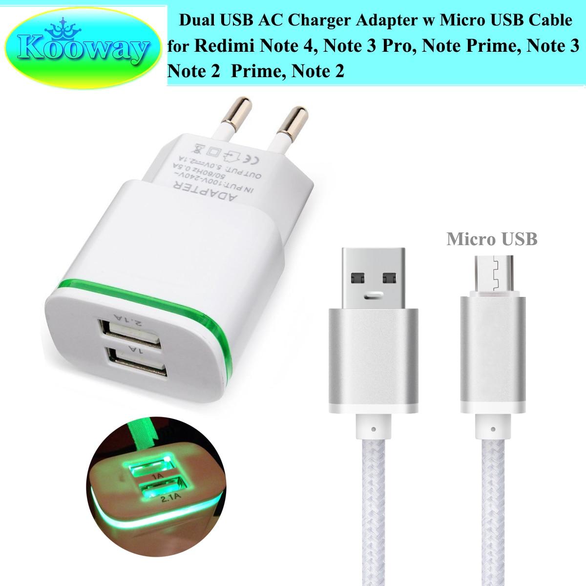 Dual USB EU Plug Wall Charger Adapter + 3FT Micro USB