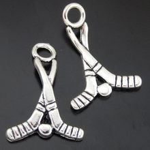 (20pieces) Antique Silver Tone Alloy Hockey Bracelet Charms Necklace Pendant Jewelry Making 22*16*1mm Creative Handmade 50652(China)