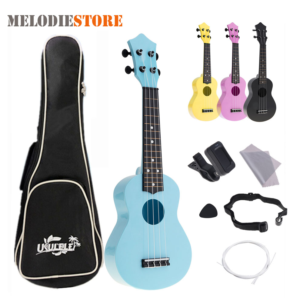 21 Inch Ukulele Acoustic Colorful Hawaii 4 String Guitar Guitarra for Kids Children Beginner + Ukelele Bag Strap Picks Tuner Set ...