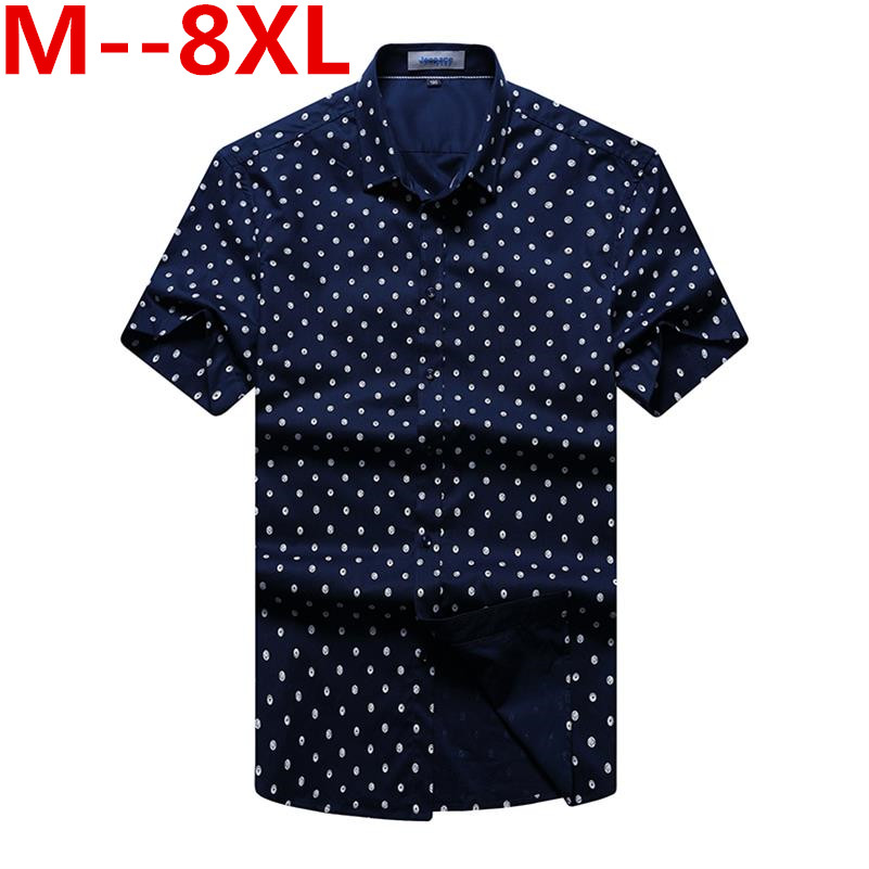 Plus Size 10XL 8xl 6XL 5XL 4XL New Arrival Short Sleeve Shirt Men Summer Casual Polka Dot Print Social Dress Shirts Male Camisas