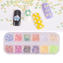 1 Box Nail Glitter Flakes AB Sequins Powder Holographic Triangle Rhombus 3D Design Polishing Decoration
